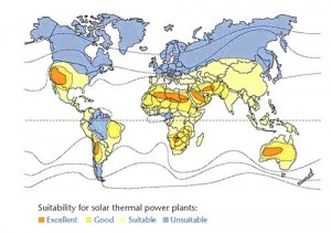 suitability for solar thermal plants