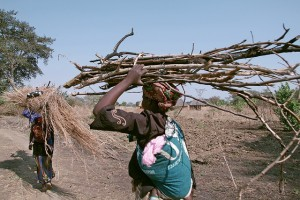 Woman carrying firewood and baby