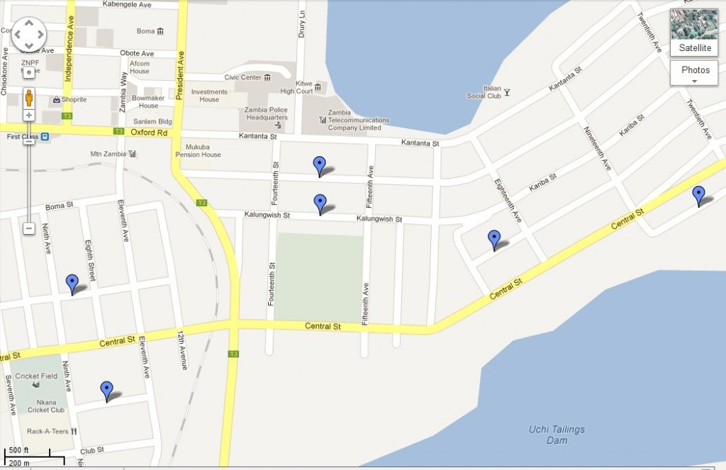 Google map Nkana East 1024x663 Before And After   Kitwe Street Names (1961 2011)