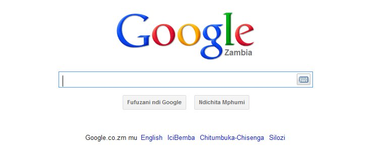 Google in Zambian languages screen shot The Internet In Bemba, Lozi and Nyanja