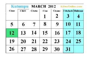 Kutumpu - March 2012 calendar -  KitweOnline