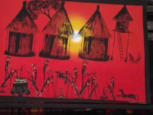 Village painting 29 - Chisokone market - Kitwe