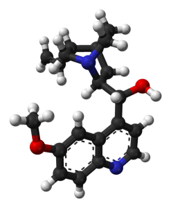 494px-Quinine-3D-balls by Ben Mills (Wikipedia)
