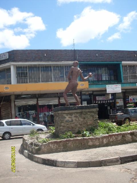 Mposa mabwe (stone thrower) statue - kitweonline