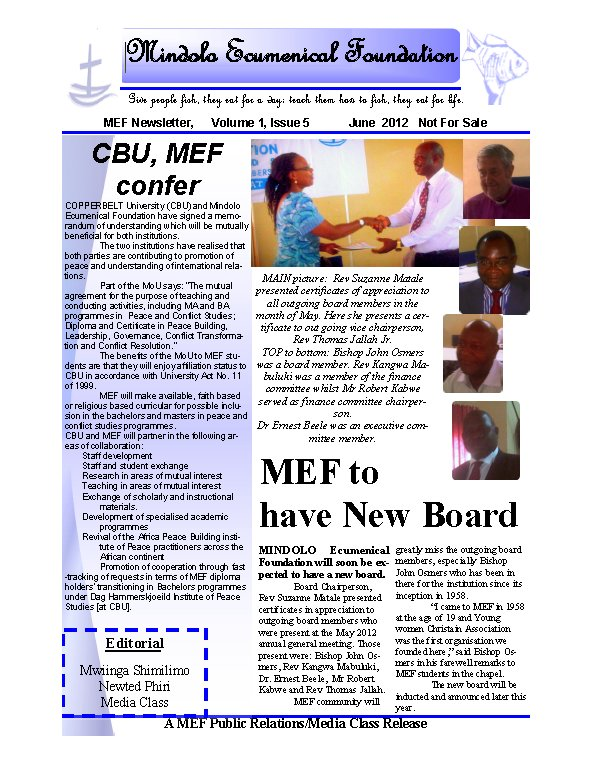 MEF Newsletter - July 2012 - Mindolo Ecumenical Foundation