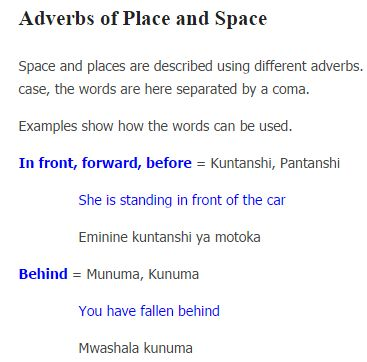 Bemba Lesson 25 - Adverbs of Space and Place